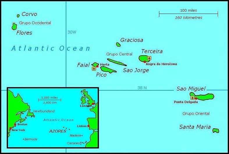 Self Catering Holiday Accommodation In The Azores - Portugal map azores